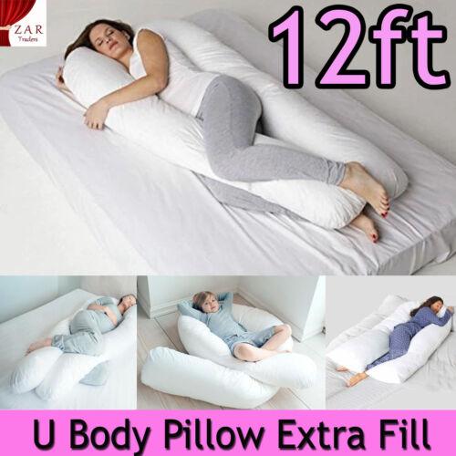 12ft U Body Bolster Maternity Pregnancy Nursing Support Soft Pillow Extra Fill