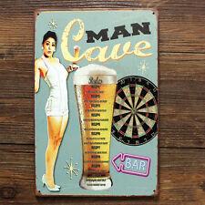 Rules For MAN CAVE BAR & DARTS Metal Tin Sign Decor Pub Tavern Display Beer Ad