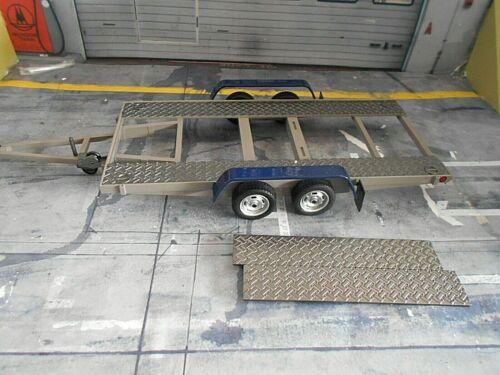 ANHÄNGER TRAILER Autotransportanhänger Car Carrier 1986 grau blau OTTO 1:18