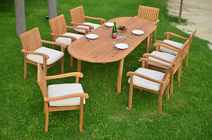 Details About 9 Pc Outdoor Dining Teak Patio Set 94 Oval Extension Table 8 Stacking Chairs