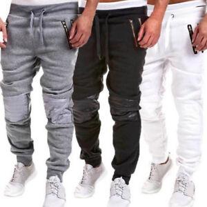 Hombre-Suave-Ajustado-Pantalon-De-Chandal-Holgado-Jogging-Pantalones-Joggers