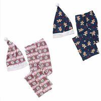 Women's Pajama Stocking Stuffer Sleep Pants Santa Hat Holiday Gift Set M L