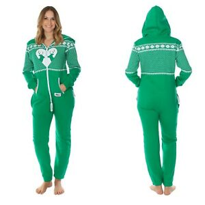 Christmas Jumpsuit Womens.Details About Tipsy Elves Womens Pajamas Reindeer Matchmaker Jumpsuit Christmas Green Size L