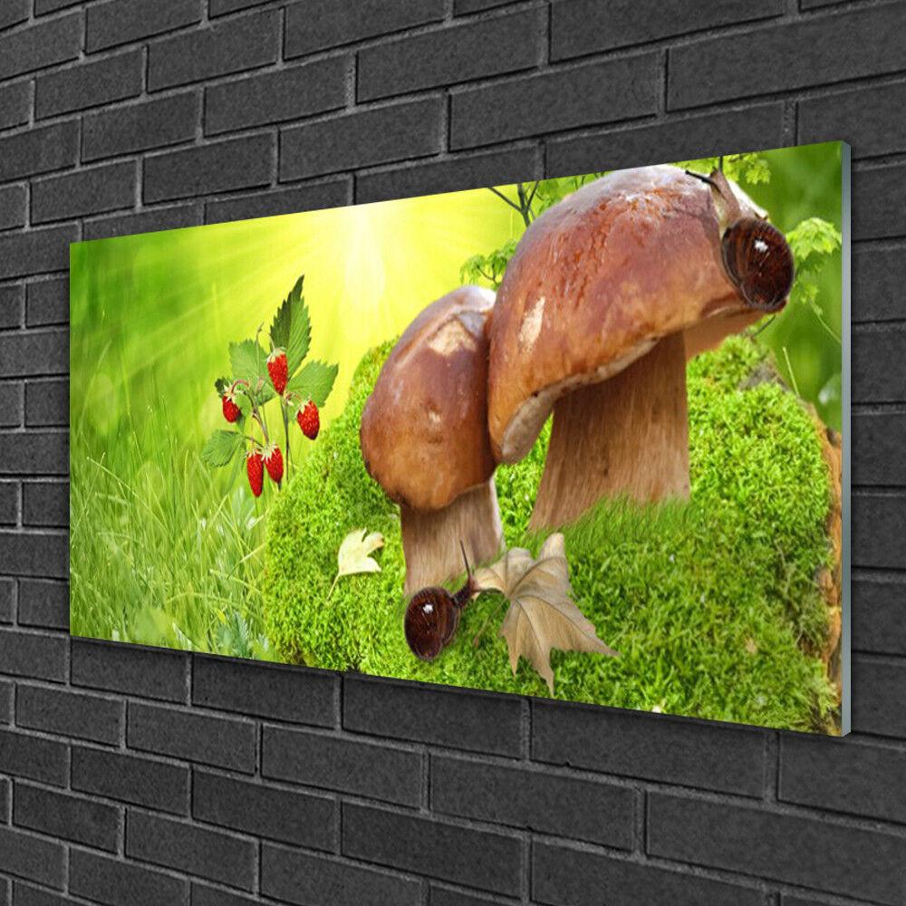 Image sur verre acrylique Tableau Impression 100x50 Champignons Herbe Fraises