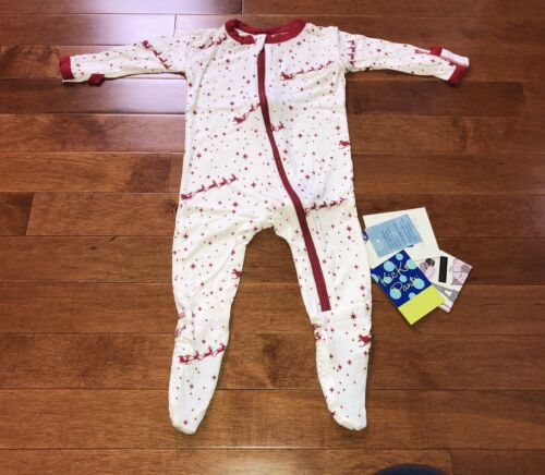 Kickee Pants Layette Natural Flying Santa Zipper Footie New Size 6-9 Months