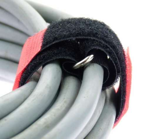 40 x Kabelklettband 30 cm x 25 mm neon rot Klettband Klett Kabel Binder Band Öse
