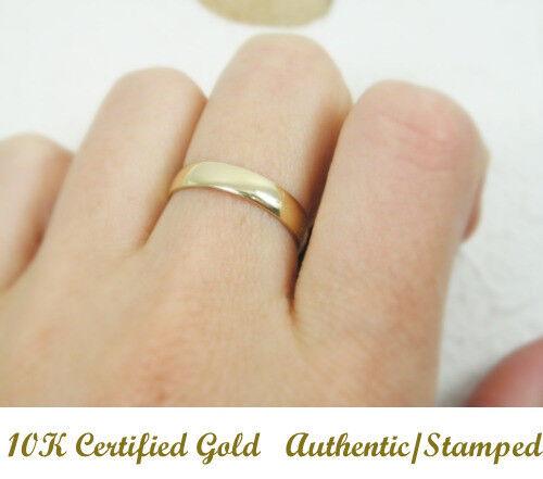 Solid Yellow gold 10K Men Women Engagement Wedding Anniversary Ring 4mm 10