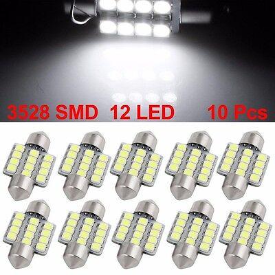 10 X White 31MM 12SMD Festoon Dome Map Interior LED Light Lamp DE3175 3022 3021