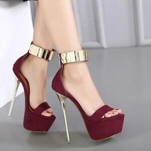 Women's Platform Sandals With Ankle Strap - Sexy Club Buckled Chunky Shoes - Peep Toe Very High Heel