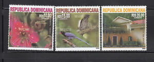 Dominican-Republic-2008-China-Friendship-Bird-Flower-Flora-Fauna-Sc-1442-44-3v