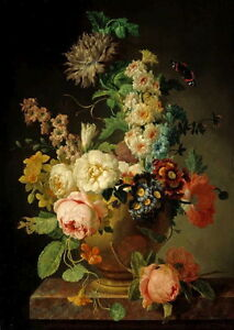Oil-painting-nice-still-life-flowers-with-flying-butterfly-in-vase-Hand-painted