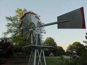 Windmill-Weather-Vane-American-Farm-Miniature-8-Ft-Steel-54-48A-Silver-Red