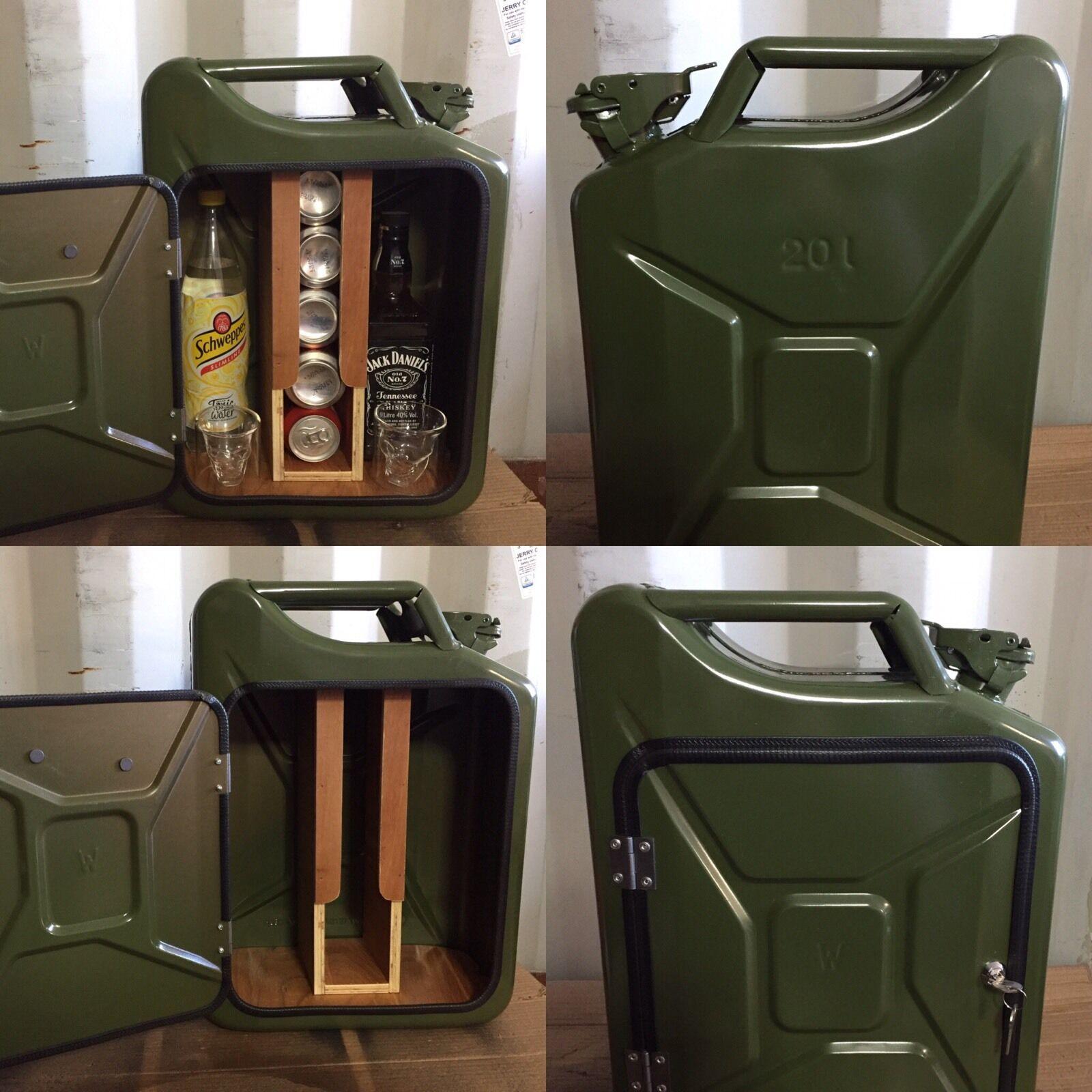Hacen bidón Mini Bar, verde, camping, Reciclado, Nuevo, armario de bebidas