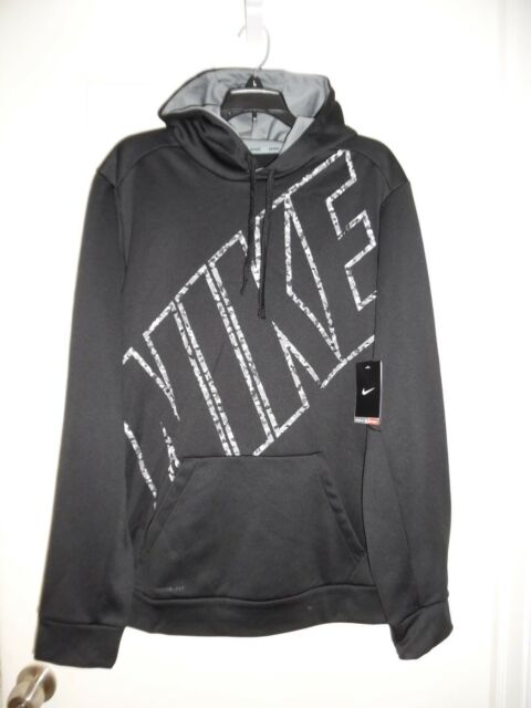 Nike Therma Pullover Hoodie Camo All Over Print Dark Grey Heather//White LG