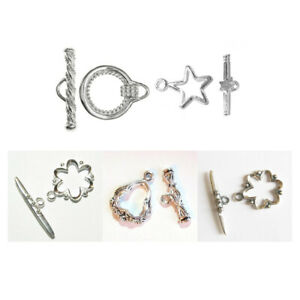 9mm STERLING SILVER TOGGLE BAR JEWELLERY CLASP FOR CHAIN BRACELET OR NECKLACE