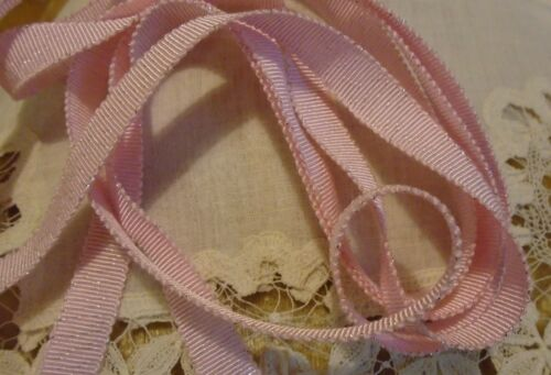 """3//8/"""" RAYON GROSGRAIN RIBBON WITH SPARKLE PINK JAPAN 2 YARDS//3.00"""