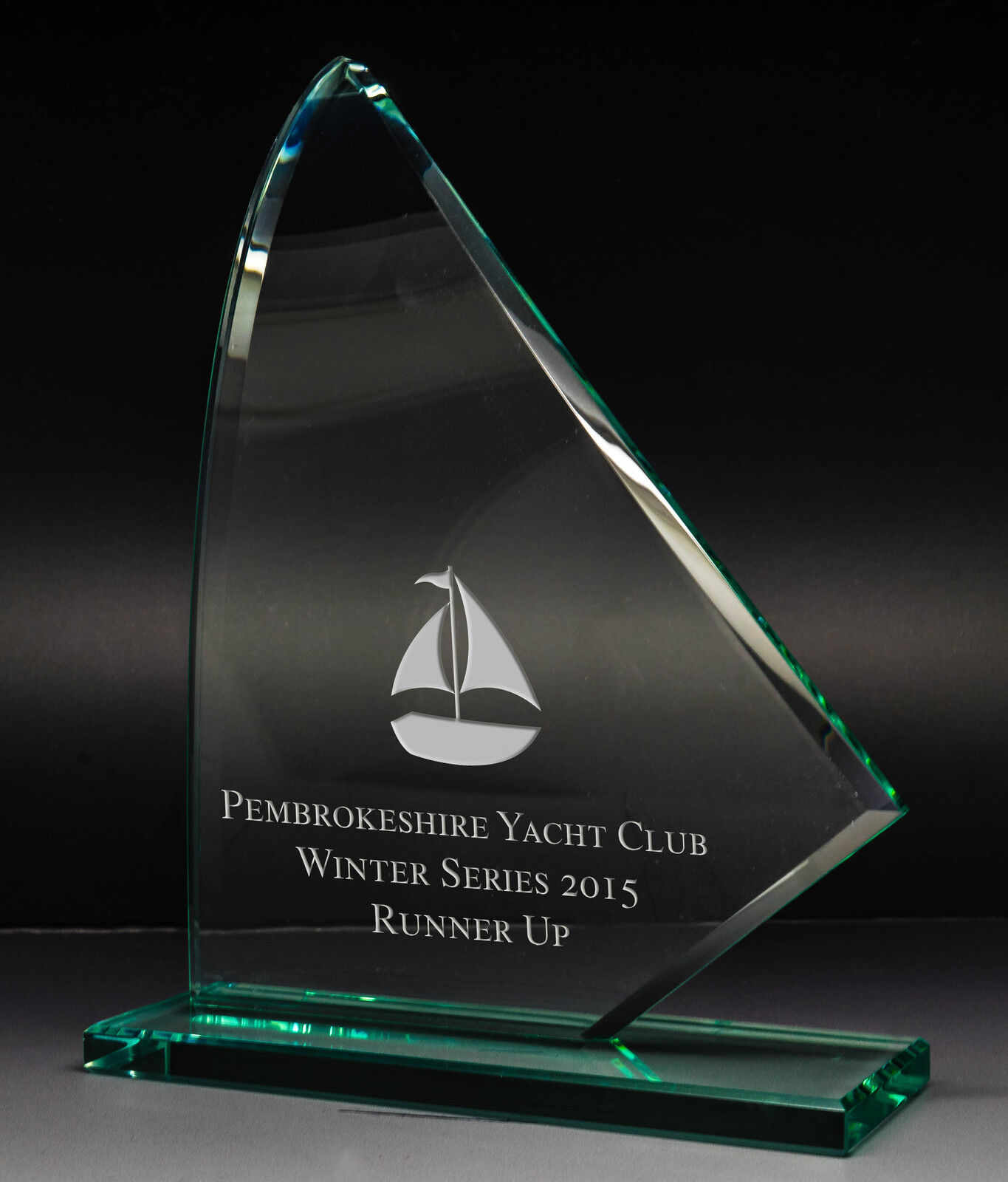 Personalised Jade Glass Curved Sailing or Yachting Award Trophy, Laser Engraved