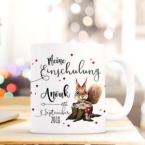 Tassen Ausdrucksvoll Tasse Becher Eichhörnchen Geschenk Einschulung Name Datum Kindertasse Ts694