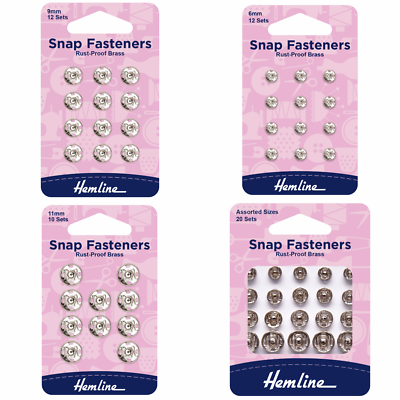 Hemline Sew On Nickel Snap Fasteners Poppers Press Studs 20 Assorted  Sets