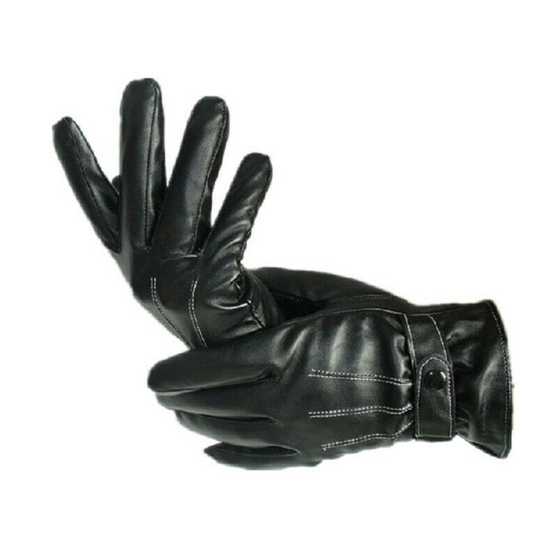 Black 1Pair Mens PU Leather Winter Super Driving Cycling Warm Gloves Cashmere