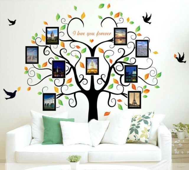 Family Tree Wall Art Picture Frame.Wall Sticker Wall Decals Photo Frame Tree Tattoo Wall Art Home Decor Living Room
