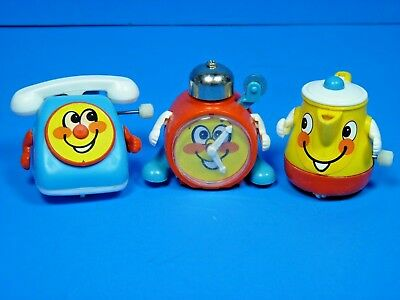 Vintage TOMY Lot of 3 Wind Up Toys Phone Teapot Clock WORKS! | eBay
