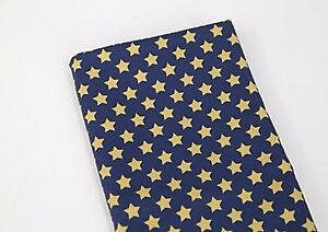 Vintage-yellow-stars-100-Cotton-Fabric-BY-THE-YARD-Star-blue-Quilting-JC6-44