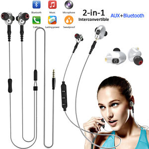 2 In 1 Wireless Bluetooth Headset Wired Headphones For Smart Cell Phones Pc Game Ebay