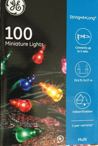GE 100 Miniature Multi Color Christmas Lights String-A-Long up to 5 Sets