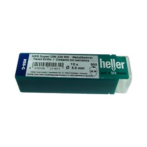German Tools Heller 5mm HSS-G Super Twist Metal Drill Bits 10 Pack HSS Ground