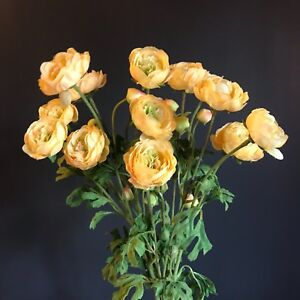 Bunch of faux silk yellow ranunculus flowers realistic artificial image is loading bunch of faux silk yellow ranunculus flowers realistic mightylinksfo
