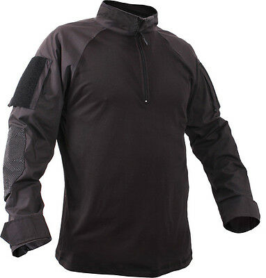 Black Heat Resistant 1/4 Zip Long Sleeve Lightweight Combat Shirt