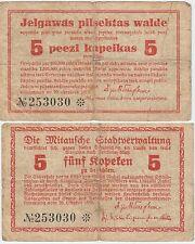 "Latvia-Mitau-""German Occupation""5 Kopeks Banknote 1915 Very Good Condition"