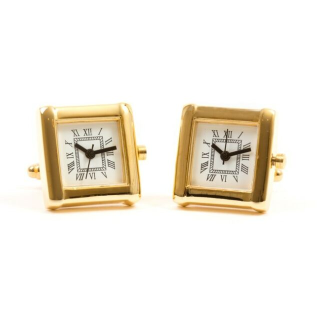 Gold Functional Clock Watch Square Cufflinks + Free Box & Cleaner