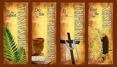 Eng Inspirational Church Banners EX-Large Easter Set A 4 BANNER SET