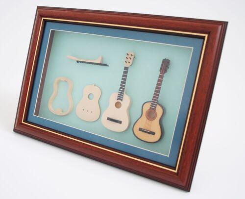 Miniatur Musikinstrument Klassik Gitarre Bau im Bilderrahmen FHBG