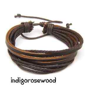 Tribal-Surfer-Wrap-Cord-Genuine-Hot-Layered-Leather-Men-039-s-Bracelet
