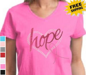 Breast Cancer Awareness Rhinestone Heart Ribbon Glitter Hope New Womens T-Shirt