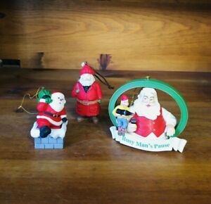 Vintage-Set-Of-3-1990-039-s-Santa-Claus-Christmas-Tree-Ornaments