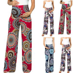Women-Maternity-Summer-Casual-Floral-Wide-Leg-Straight-Pants-Pregnancy-Trousers