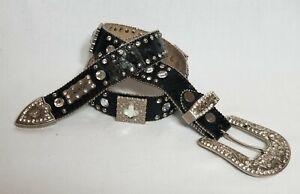BHW-Western-Bling-Cowgirl-Leather-Belt-Rhinestones-Black-Size-M