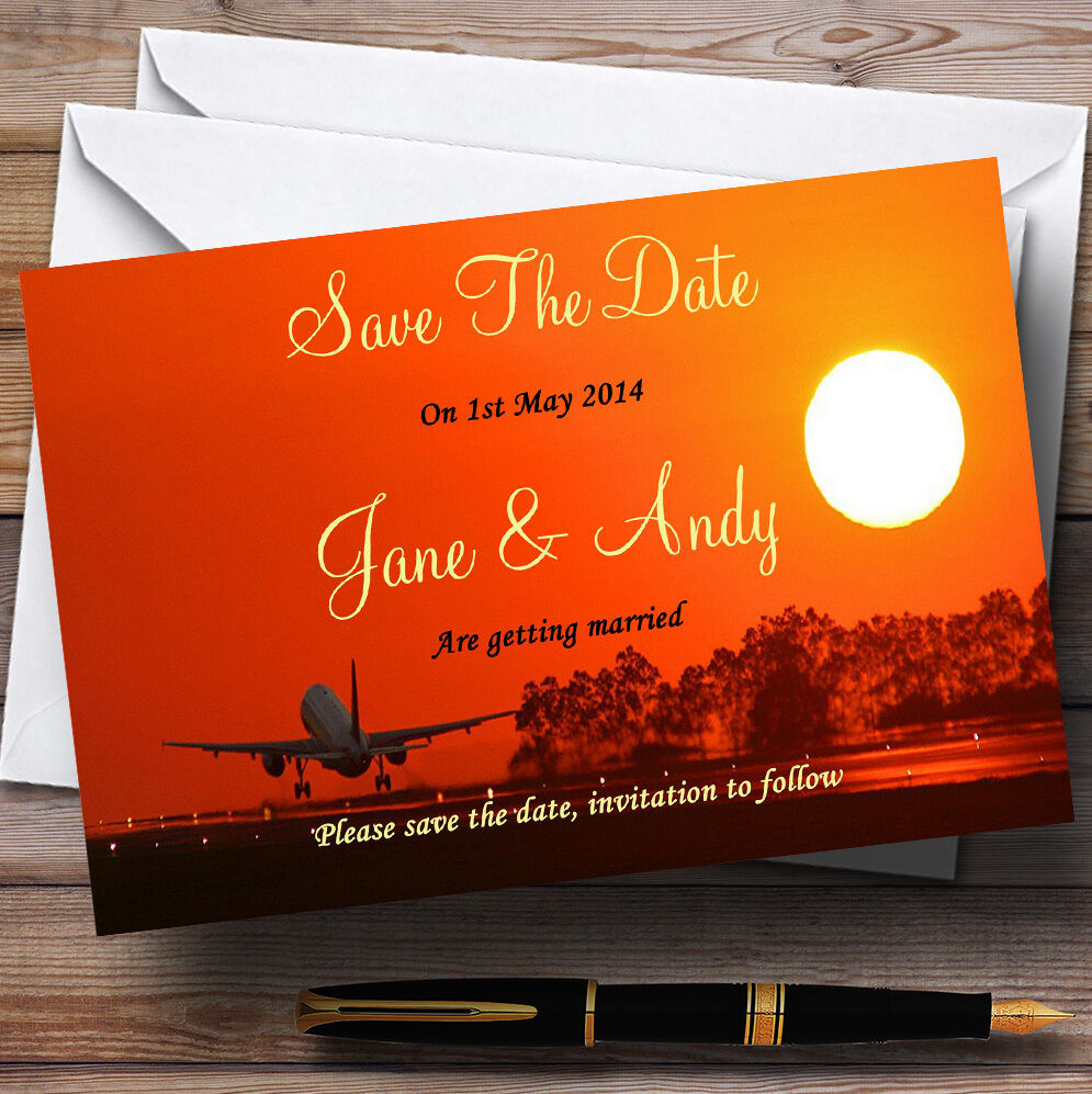 Plane Taking Off Into Sunset Abroad Personalised Wedding Save The Date Cards