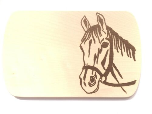 Frühstücksbrettchen Frühstücksbrett Gravur Pferd Vesper Holz Namen Brett Kopf