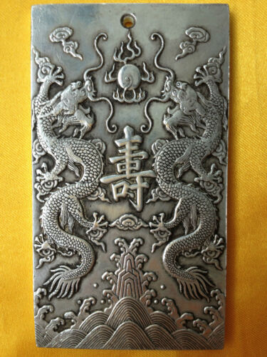 Old Chinese Ssangyong longevity tibet Silver Bullion thanka amulet 135 g