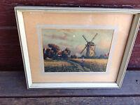 Small Vintage Framed Print - Windmill