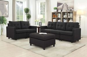 Details about 5 Seat Contemporary Sofa Set Modern Sectional Sofa Living  Room Furniture Black