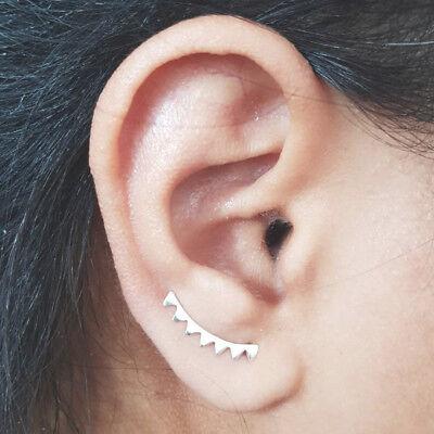 Geometric Triangle Sterling Silver CZ Ear Climbers