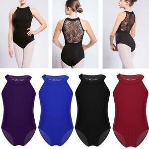 UK Kids Girls Lace Back Leotard Gymnastics Ballet Dance Dress Bodysuit Dancewear