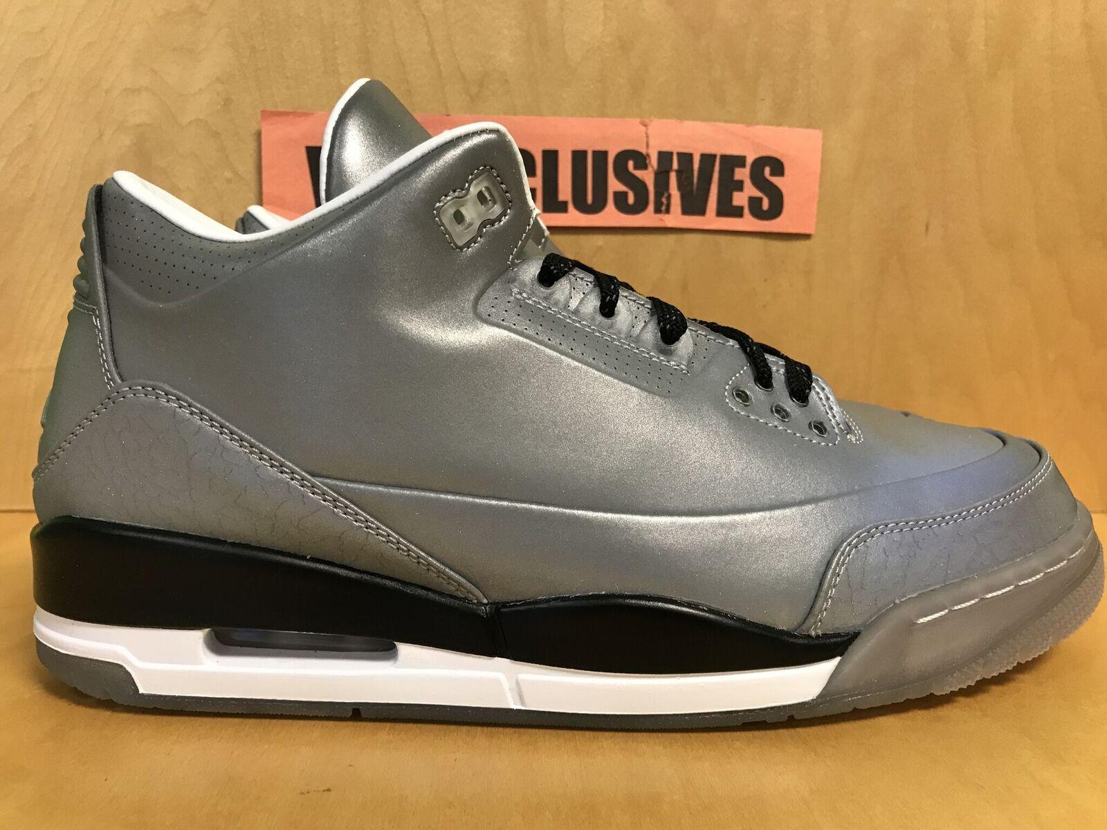 Nike Jordan Retro 3 5LAB3 Reflective Silver 3M 631603-003 Size 10.5