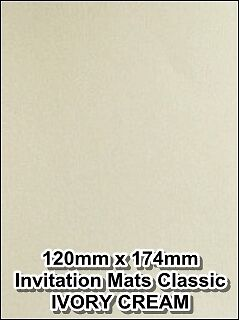 50 X IVORY CREAM SHIMMER INSERTS PAPER WEDDING INVITATIONS MATS 200GSM (C)
